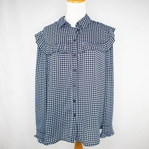 Who What Wear Black blue blouse with ruffles (L)